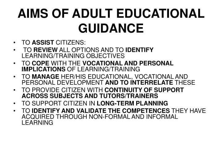 AIMS OF ADULT EDUCATIONAL GUIDANCE