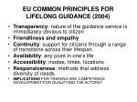 eu common principles for lifelong guidance 20042