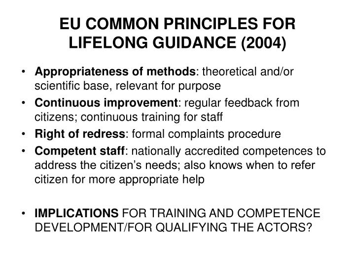 EU COMMON PRINCIPLES FOR LIFELONG GUIDANCE (2004)
