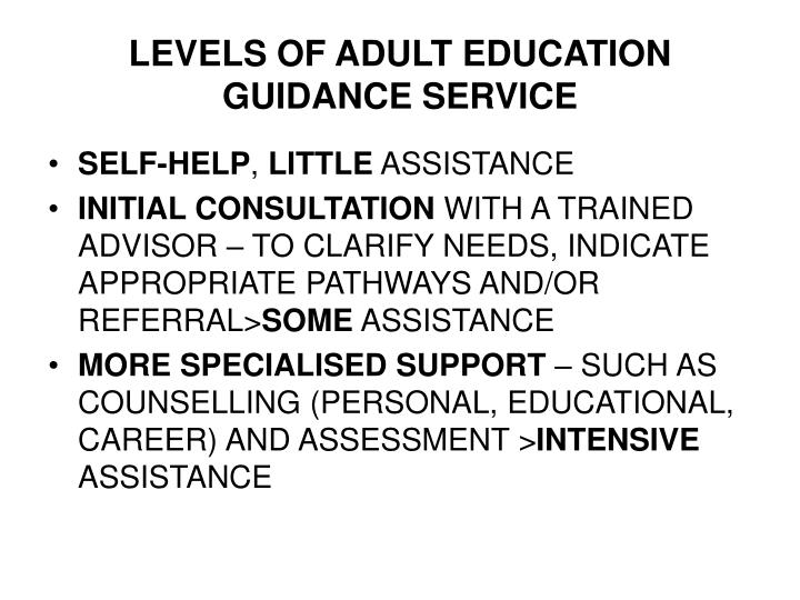 LEVELS OF ADULT EDUCATION GUIDANCE SERVICE