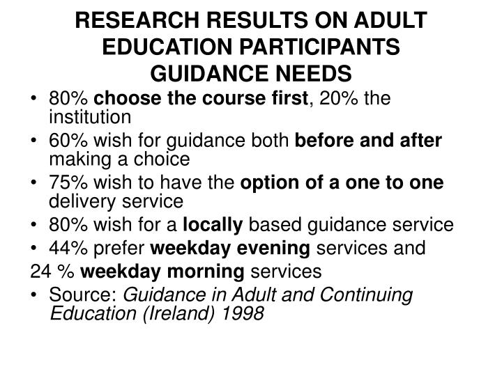 RESEARCH RESULTS ON ADULT EDUCATION PARTICIPANTS