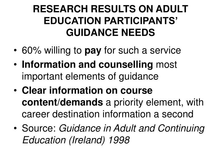 RESEARCH RESULTS ON ADULT EDUCATION PARTICIPANTS'