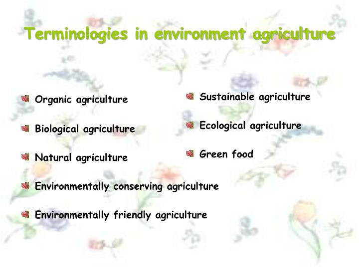 Terminologies in environment agriculture