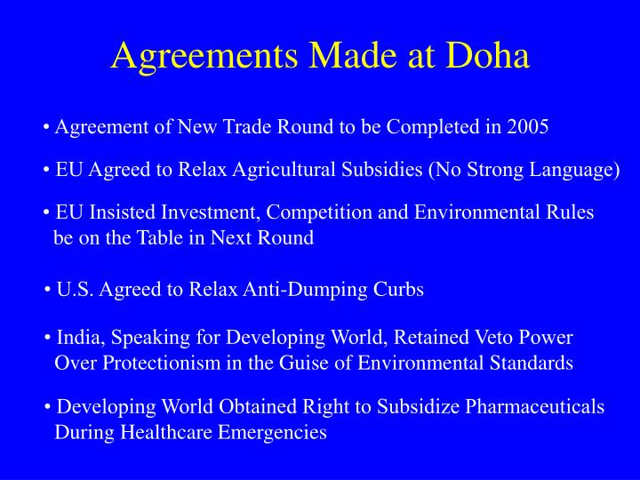 Agreements Made at Doha