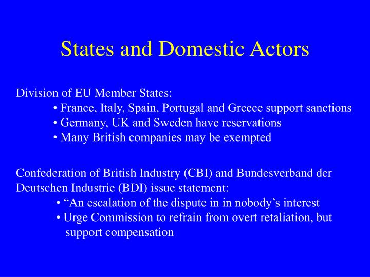 States and Domestic Actors