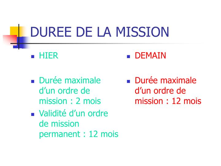 Duree de la mission