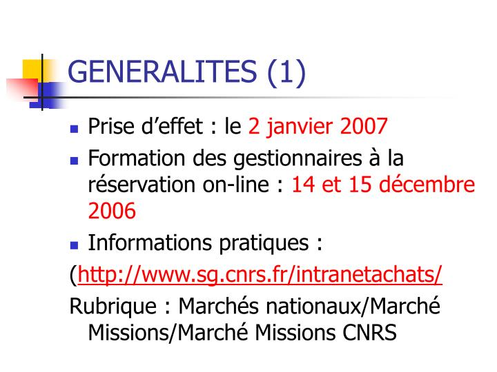 GENERALITES (1)