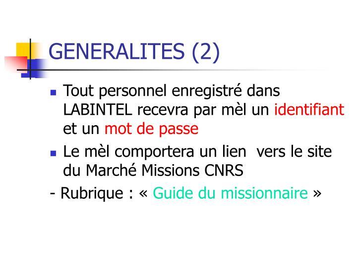 GENERALITES (2)