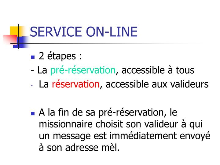 SERVICE ON-LINE