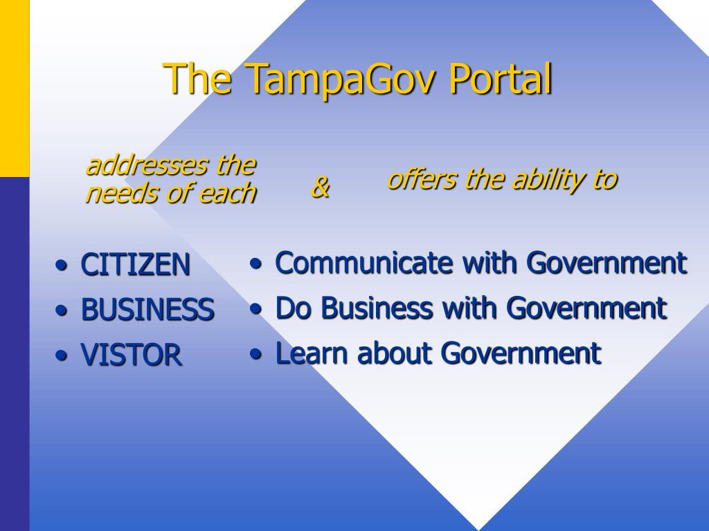 The TampaGov Portal