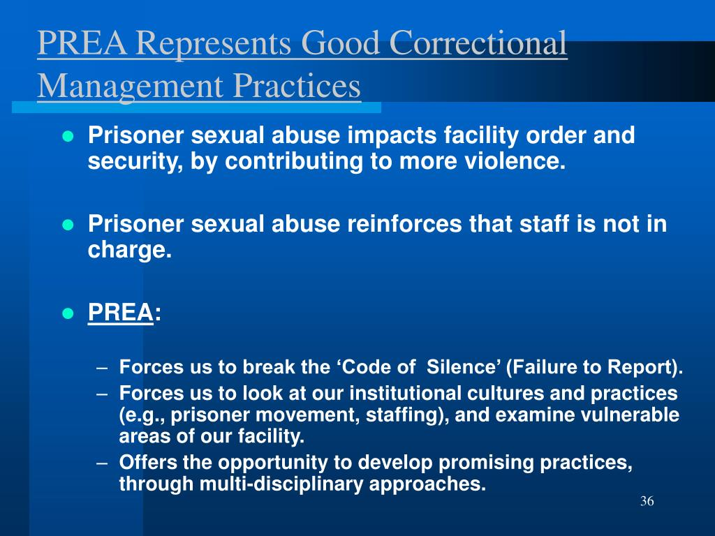 PREA Represents Good Correctional Management Practices