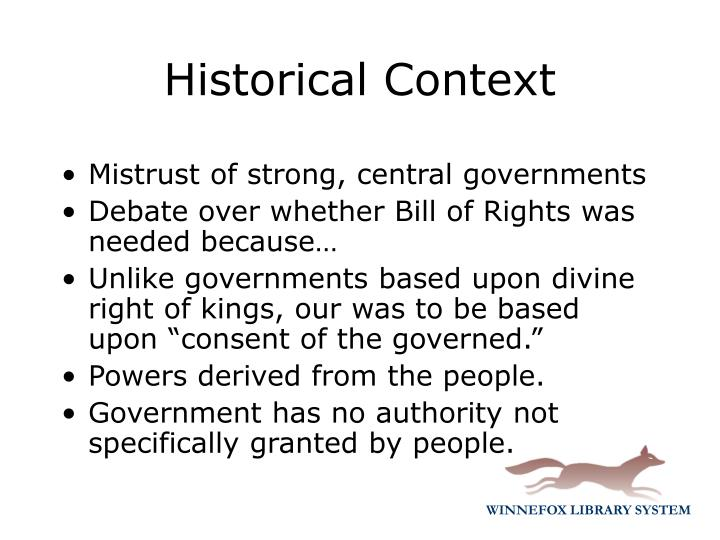 Mistrust of strong, central governments