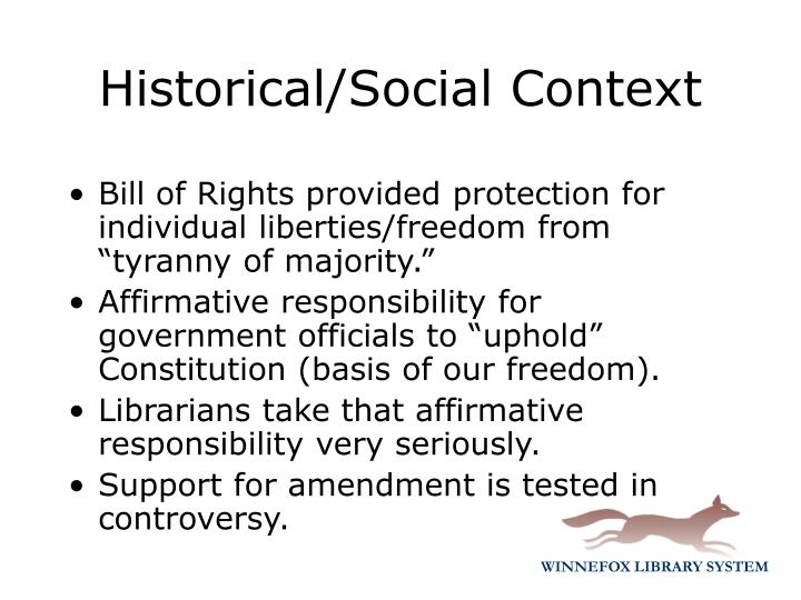 "Bill of Rights provided protection for individual liberties/freedom from ""tyranny of majority."""