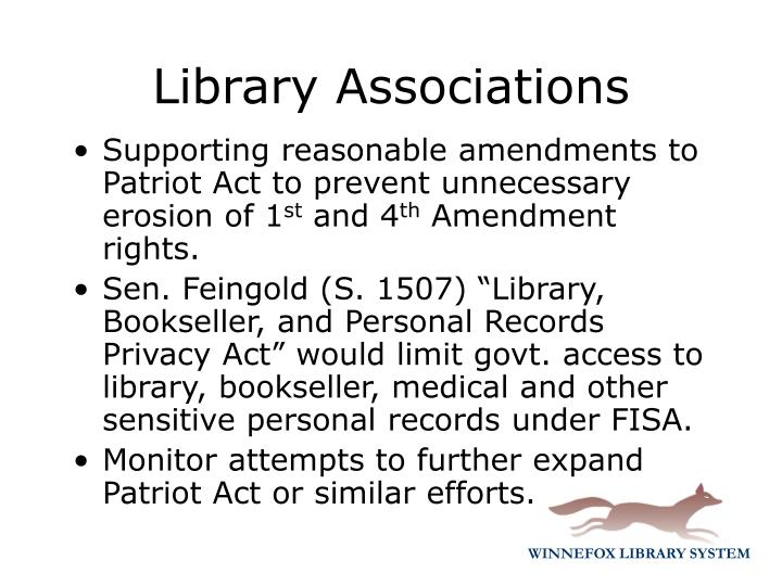 Supporting reasonable amendments to Patriot Act to prevent unnecessary erosion of 1