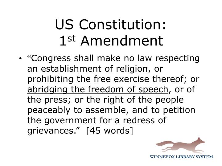 Us constitution 1 st amendment
