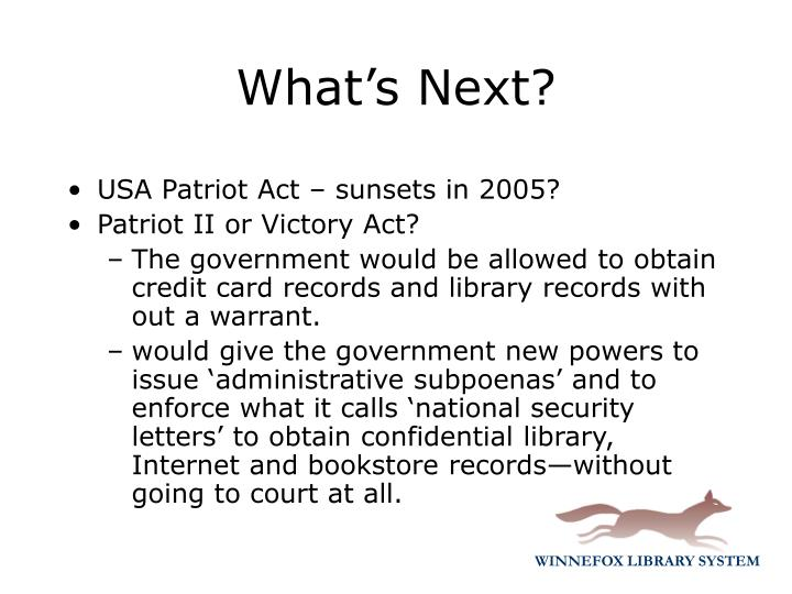 USA Patriot Act – sunsets in 2005?