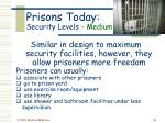 prisons today security levels medium