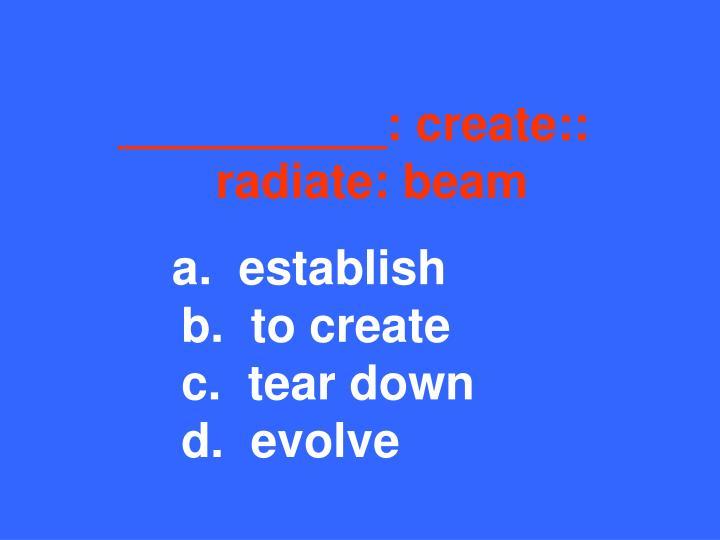 __________: create::