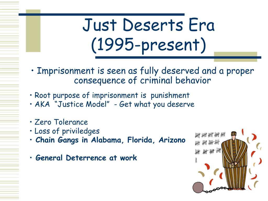 Imprisonment is seen as fully deserved and a proper consequence of criminal behavior