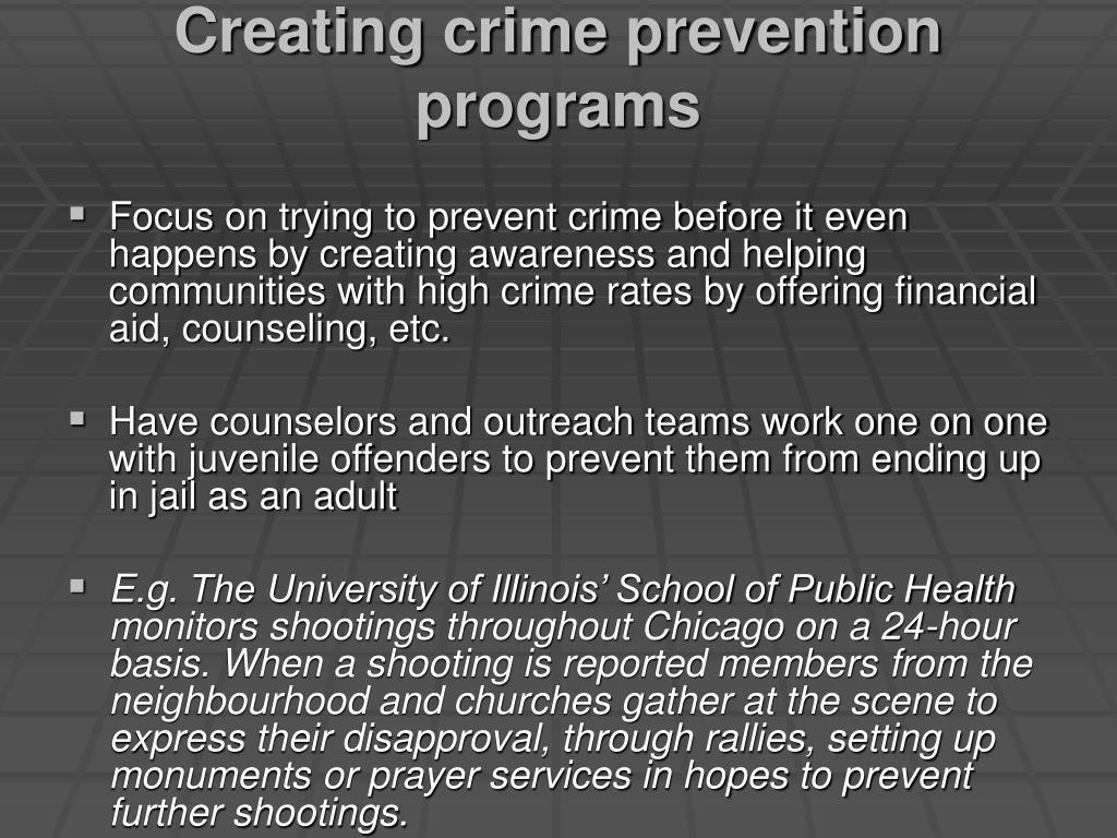 Creating crime prevention programs