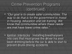 crime prevention programs continued