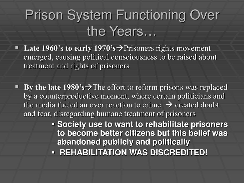 Prison System Functioning Over the Years…