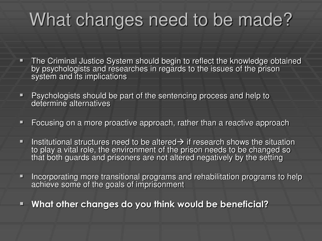 What changes need to be made?