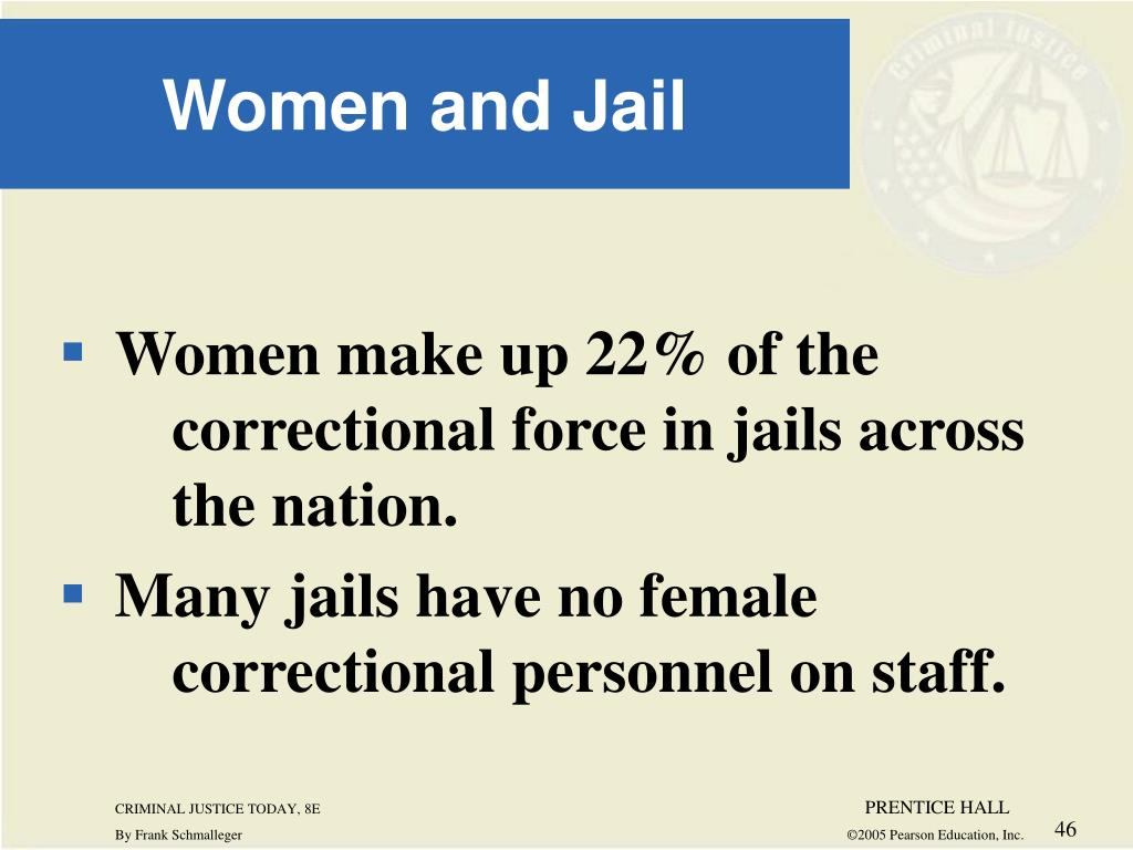 Women make up 22% of the  	correctional force in jails across 	the nation.