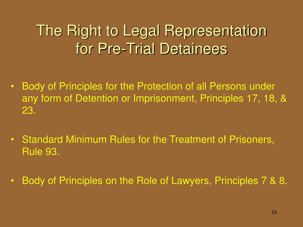 The Right to Legal Representation for Pre-Trial Detainees