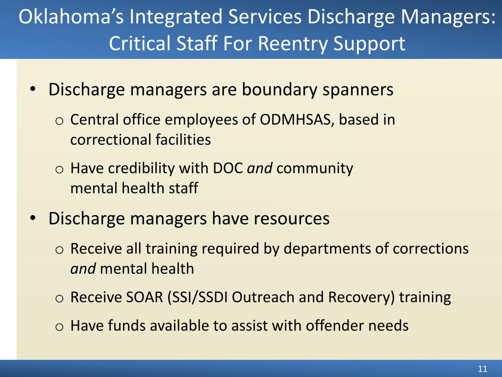 Oklahoma's Integrated Services Discharge Managers:  Critical Staff For Reentry Support