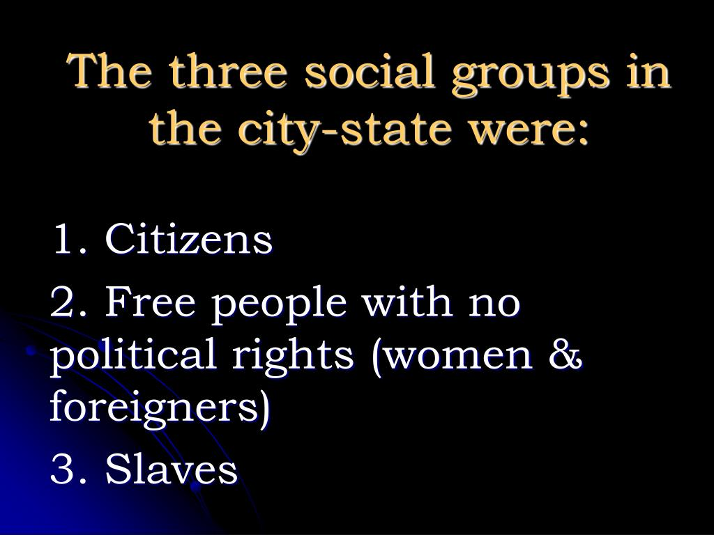 The three social groups in the city-state were:
