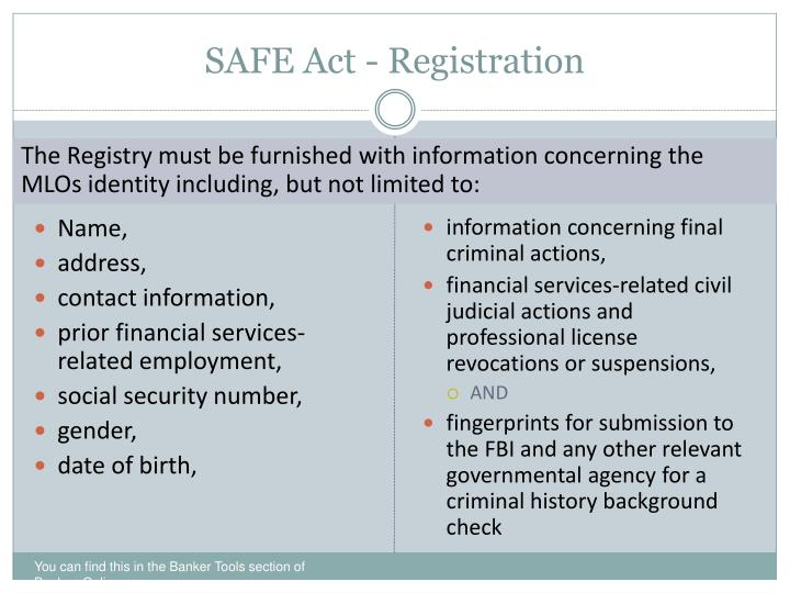 PPT - THE SAFE ACT PowerPoint Presentation - ID:1183041