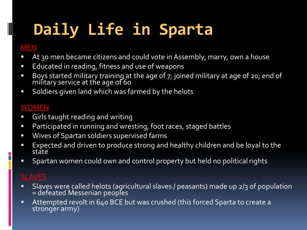 Daily Life in Sparta