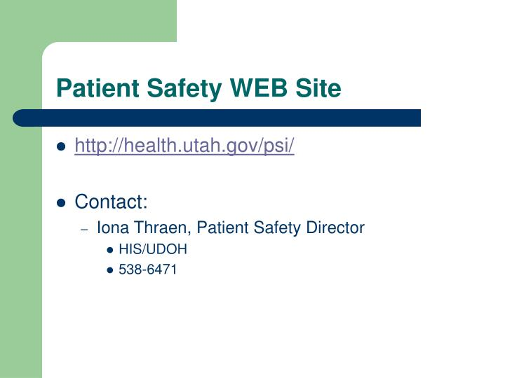 Patient Safety WEB Site