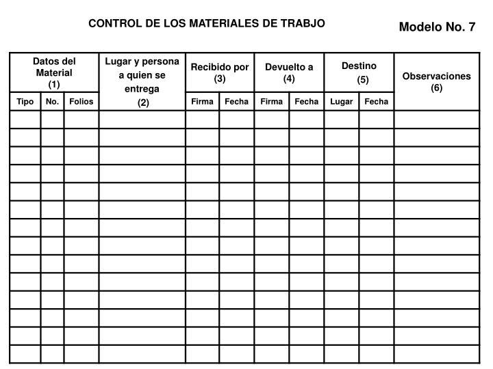 CONTROL DE LOS MATERIALES DE TRABJO