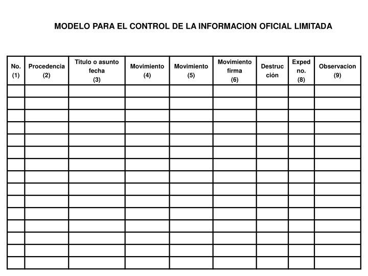 MODELO PARA EL CONTROL DE LA INFORMACION OFICIAL LIMITADA