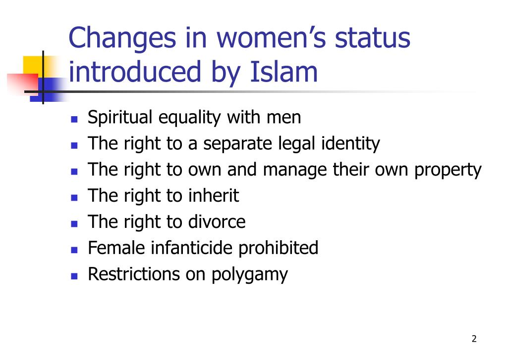 Changes in women's status introduced by Islam