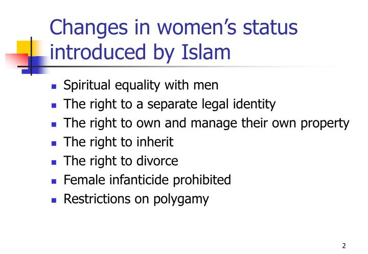 Changes in women s status introduced by islam