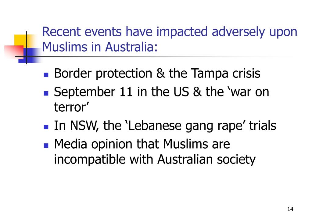 Recent events have impacted adversely upon Muslims in Australia: