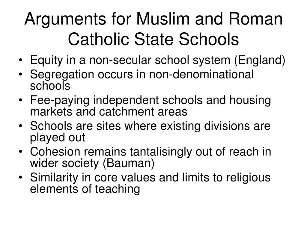 Arguments for Muslim and Roman Catholic State Schools