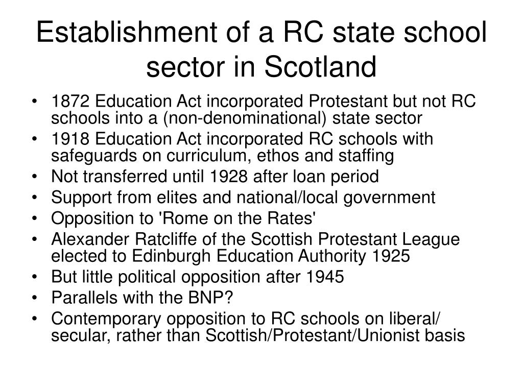 Establishment of a RC state school sector in Scotland
