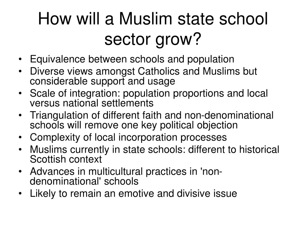 How will a Muslim state school sector grow?