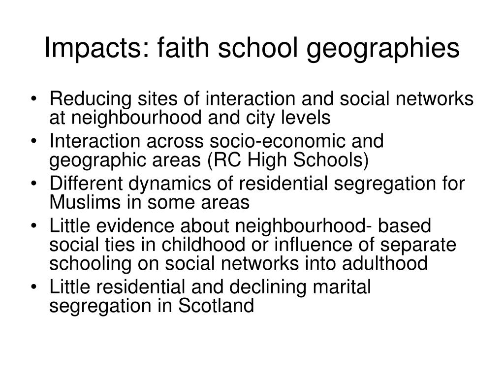Impacts: faith school geographies