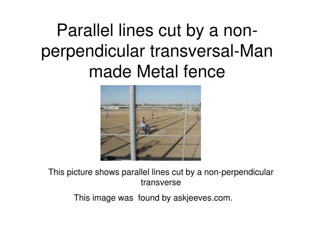 Parallel lines cut by a non-perpendicular transversal-Man made Metal fence