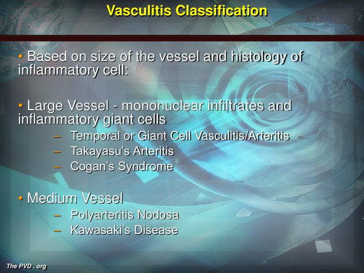 Vasculitis classification