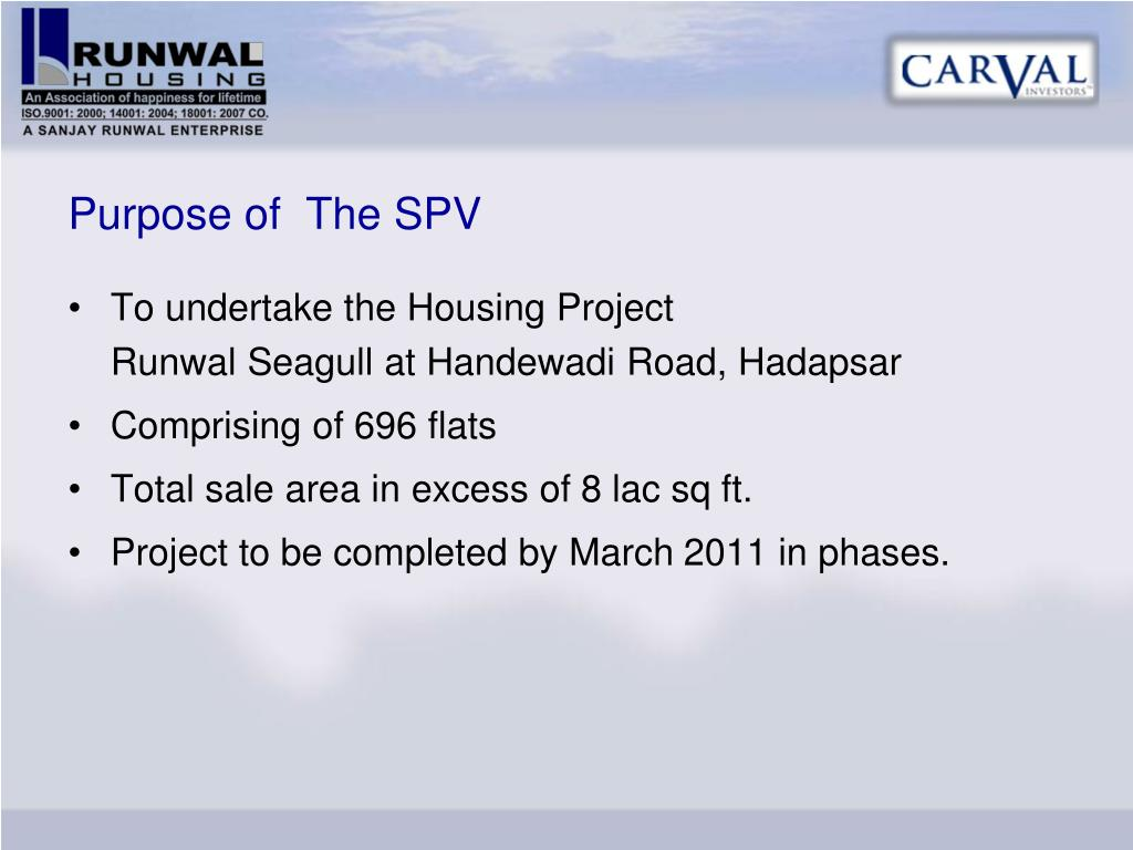 Purpose of  The SPV