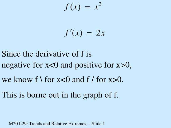 Since the derivative of f is