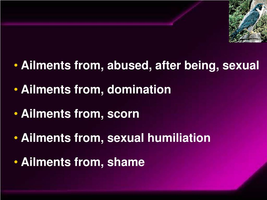 Ailments from, abused, after being, sexual