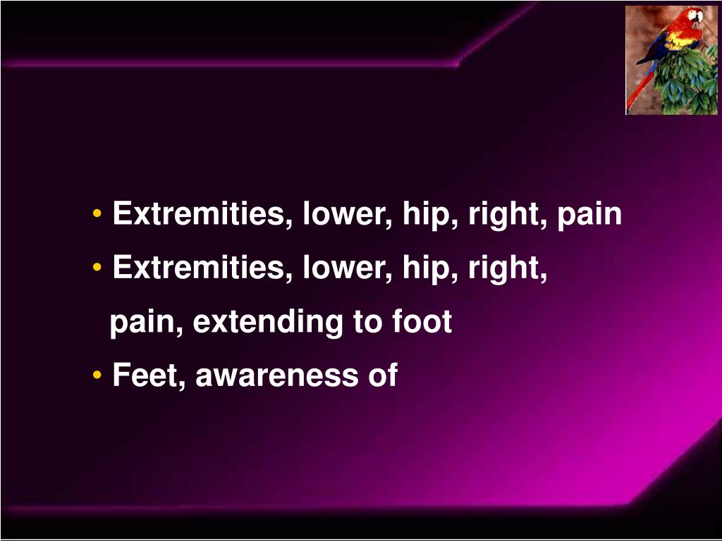 Extremities, lower, hip, right, pain