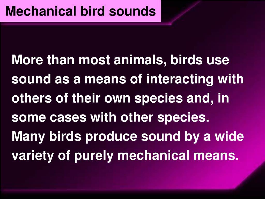 Mechanical bird sounds